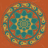 Turquoise ornament on orange background Royalty Free Stock Photos