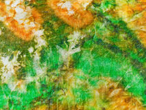 Abstract ornament van groene gele batik Stock Foto