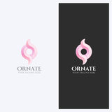 Abstract Ornament, Wervelingsvorm Logo Design Template Collectief Elegant Bedrijfsthema Schoonheidsmiddelen, Huwelijksconcept Stock Afbeelding