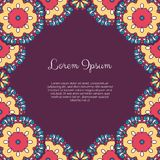 Abstract ornamental background. Invitation or greeting card template with abstract ornament. Hand drawn vector illustration Royalty Free Stock Photo