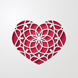 Abstract ornamental heart shaped 3d decoration with shadow. Cutout lacy ornate heart. Valentine`s day greeting card. Laser cutting design element. Vector stock illustration
