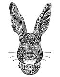 Abstract ornamental rabbit. Vector black and white illustration. Royalty Free Stock Photography