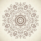Abstract ornamental round floral lace pattern on. Beige background.  illustration for holiday design. For decorating of wedding invitations, greeting cards Royalty Free Stock Image