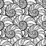 Abstract ornamental spiral seamless black and white outline patt Royalty Free Stock Photography