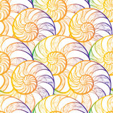 Abstract ornamental spiral seamless  outline pattern. Stylish se. Ashell nautilus textured geometric background Royalty Free Stock Photos