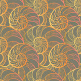 Abstract ornamental spiral seamless outline pattern. Stylish sea. Abstract ornamental spiral seamless  outline pattern. Stylish seashell nautilus textured Stock Image