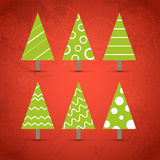 Abstract ornamented christmas trees Stock Images