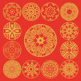 Abstract ornamented golden medallions set. Royalty Free Stock Photo