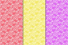 Abstract ornaments. Colored seamless patterns royalty free illustration