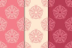 Abstract ornaments. Set of red seamless patterns Stock Image