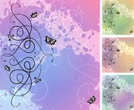 Free Abstract Ornate Bacground With Butterflies Royalty Free Stock Image - 20629036