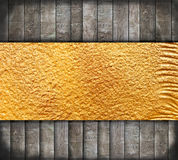 Abstract oud hout met gouden banner Royalty-vrije Stock Foto's
