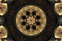 abstract oud ornament in bruin, mandala, caleidoscoop Royalty-vrije Stock Foto