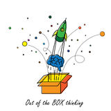 Abstract out of box thinking - vector graphic. On white Stock Photo