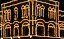 Abstract out of focus house decoration. Christmas house decoration at night, abstract out of focus lights Stock Photos