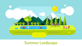 Abstract outdoor summer landscape. Trees and Stock Photo