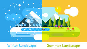Abstract outdoor summer and winter landscape Royalty Free Stock Photos