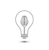Abstract outline brain light bulb Stock Photography
