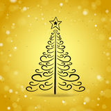 Abstract Outline Christmas Tree on Gold Brilliant Background Royalty Free Stock Photo