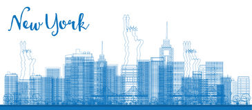Abstract Outline New York city skyline with skyscrapers. Vector illustration. Business and tourism concept with place for text. Image for presentation, banner Royalty Free Stock Photos