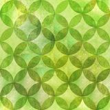 Abstract overlapping circles seamless pattern. Watercolor hand drawn grunge green textured background. Watercolour geometrical sphere shaped elements. Print Royalty Free Stock Photo