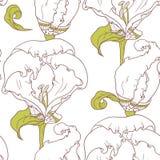 Abstract overzichts bloemen naadloos patroon met hand getrokken bloemen royalty-vrije illustratie