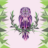 Abstract owl on a white background in purple colors Stock Image