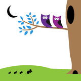 Abstract owls and mouses in the night Royalty Free Stock Photography