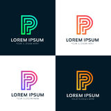Abstract P letter line sign icon vector logo design Stock Image