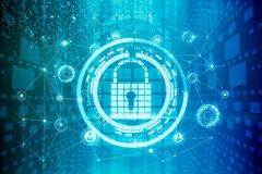 Abstract padlock backdrop. Abstract digital padlock backdrop. Cyber protection and security concept. 3D Rendering Stock Photos