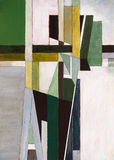 Abstract Paibting - Green Cross. An abstract painting, based around the the shape of a cross Stock Photo