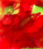 Abstract paint big red smudge with some green. Colorful background hand drawn with bright inks and watercolor paints. Color splashes and splatters create uneven Stock Photos