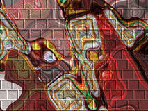 Abstract paint on brick wall Stock Photography