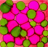 Abstract paint bright pink green spots Royalty Free Stock Photo