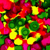 Abstract paint bright pink yellow green spots Stock Image