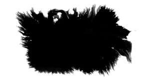 Abstract paint brush stroke shape black ink splattering flowing and washing on white background, artistic ink splatter splash. Effect stock video footage