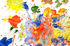 Abstract paint smeared. Multi-colored paint smeared randomly on a white background Royalty Free Stock Images