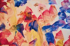 Abstract paint watercolor red blue gold structure, abstract vivid background Stock Photo