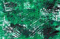 Abstract painted background. White, green and black paints Stock Photography