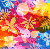 Abstract painted background with leaf Royalty Free Stock Image