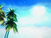 Abstract painted background of palm trees. Abstract stylised painted background of palm trees against a blue sky Stock Illustration