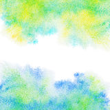 Abstract painted blue, green, yellow watercolor background. Abstract painted blue, green, yellow watercolor background, with copy space royalty free stock photo
