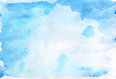 Abstract Painted Blue Watercolor Background On Textured Paper. Royalty Free Stock Image
