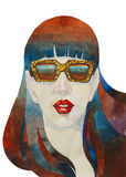 Abstract painted girl in a sunglasses. Abstract watercolor painted girl portret in a sunglasses illustration concept Royalty Free Stock Photos