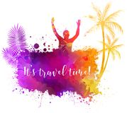 Summer party watercolor background royalty free illustration