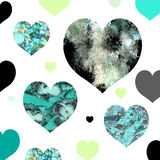 Abstract painted hearts in retro colors Stock Photography