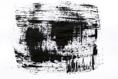 Abstract painted ink strokes set. High magnification brush stroke texture. Black paint, isolated on white. Grunge stock photo