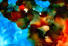 Abstract painted orange blue with black Stock Image
