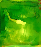 Abstract painted smooth light green with smudge. Colorful background hand drawn with bright inks and watercolor paints. Color splashes and splatters create Royalty Free Stock Photography