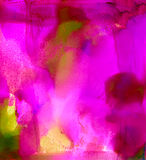 Abstract painted smooth smudged pink textured. Colorful background hand drawn with bright inks and watercolor paints. Color splashes and splatters create uneven Stock Image